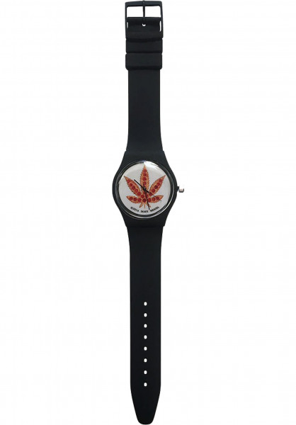Skate-Mental Uhren Pizza Leaf Watch black Vorderansicht