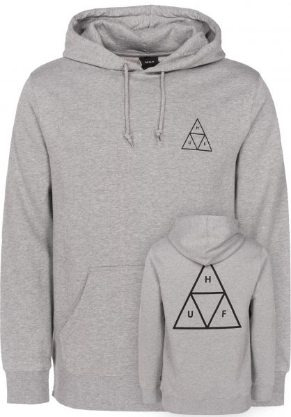 HUF Hoodies Triple Triangle heathergrey Vorderansicht