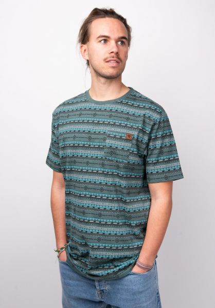 TITUS T-Shirts Ikat AO Pocket petrol-pattern vorderansicht 0398352