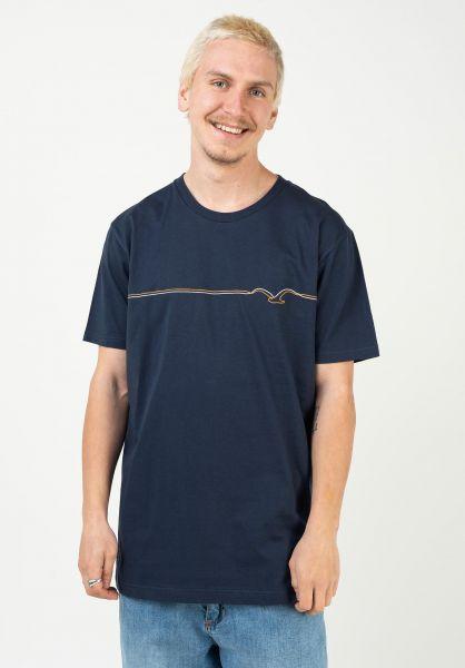 Cleptomanicx T-Shirts Möwe Pufflines darknavy vorderansicht 0323005