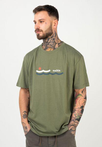 Makia T-Shirts Eden olive vorderansicht 0322591
