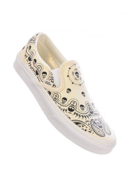 Vans Alle Schuhe Classic Slip-On bandana-white-black vorderansicht 0612264