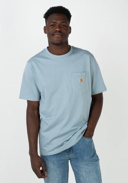 Carhartt WIP T-Shirts Pocket frostedblue vorderansicht 0393365