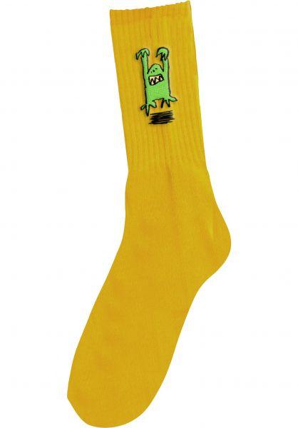 Foundation Socken Monster Embroidered yellow vorderansicht 0632231