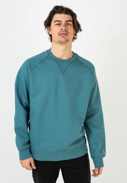 Carhartt WIP Sweatshirts und Pullover Chase hydro-gold vorderansicht 0420832