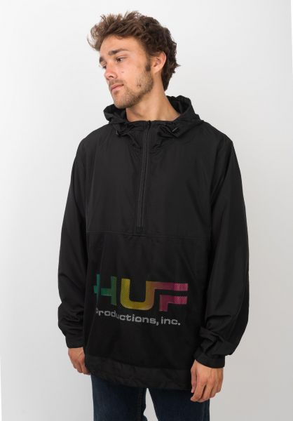 HUF Windbreaker Productions Inc black vorderansicht 0122582