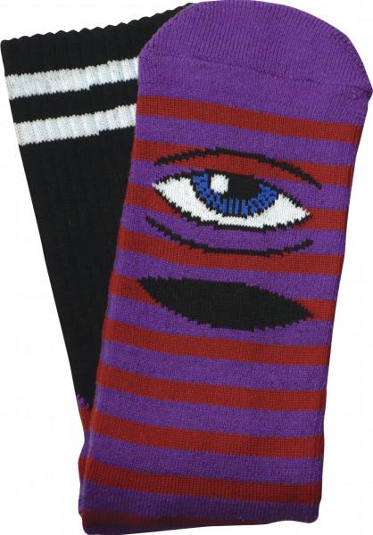 Toy-Machine Socken Sect Eye Stripe red-purple Vorderansicht
