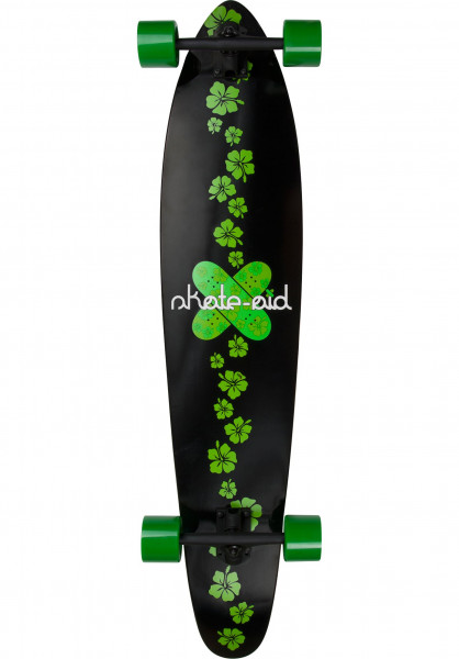 Jucker Hawaii Longboards komplett x skate-aid collabo Donator black-green Vorderansicht