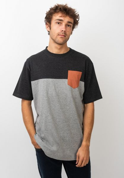 TITUS T-Shirts Colourblock Pocket greymottled-darkgreymottled-autumnleaf vorderansicht 0398349