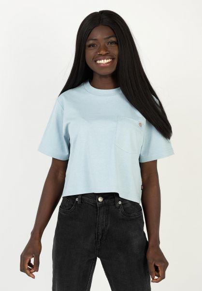 Dickies T-Shirts Porterdale Crop fogblue vorderansicht 0321083