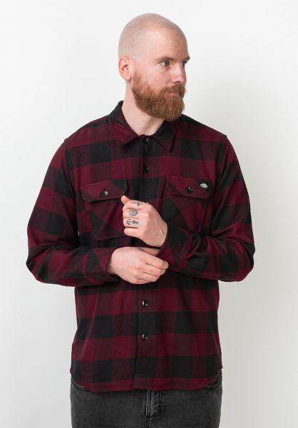 Dickies Hemden langarm Sacramento maroon vorderansicht 0411126