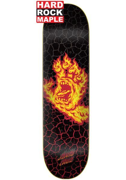 Santa-Cruz Skateboard Decks Flame Hand Hard Rock Maple black-yellow vorderansicht 0262294