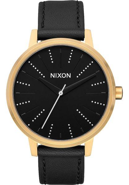 Nixon Uhren The Kensington Leather gold-black-silver vorderansicht 0810140