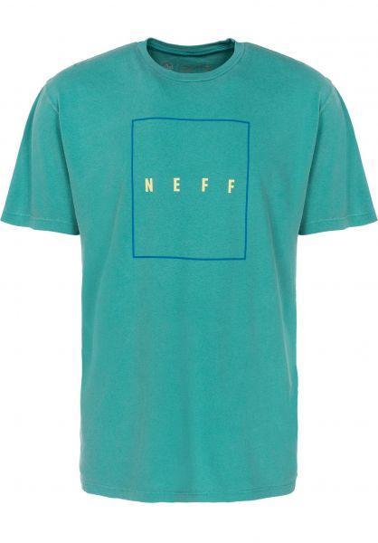 Neff T-Shirts Quad Pigment teal vorderansicht 0398117