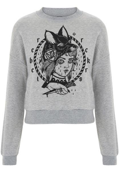 Rebel Rockers Sweatshirts und Pullover Cropsweat RBL greyheather vorderansicht 0422864