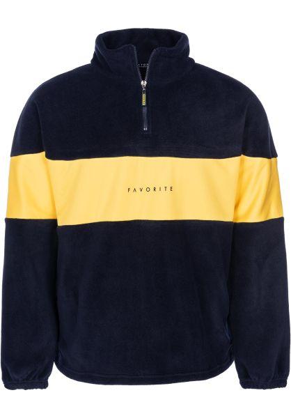 Favorite Sweatshirts und Pullover Fleece Half-Zipper navy-yellow vorderansicht 0422478