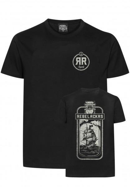 Rebel Rockers T-Shirts Bottle black Vorderansicht