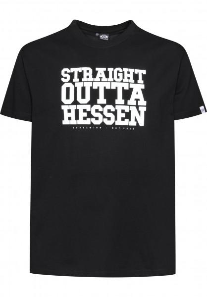 GUDE T-Shirts Straight Outta Hessen black Vorderansicht