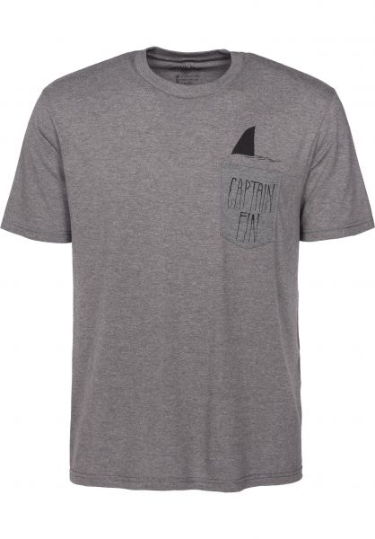Captain Fin T-Shirts Shark Fin heathergrey Vorderansicht