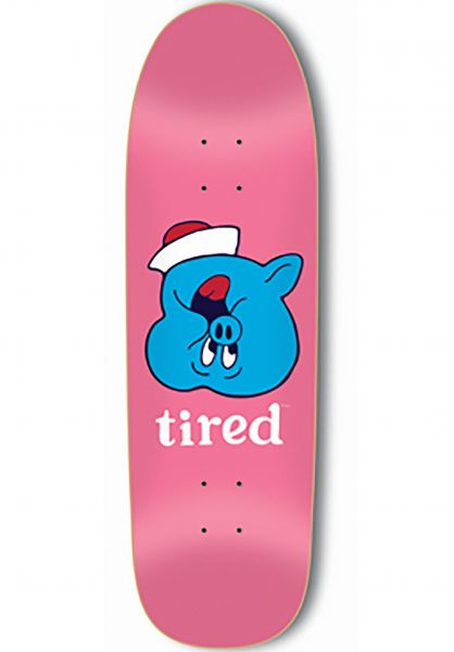 Tired Skateboard Decks Pig Upside Down Face on Sigar pink Vorderansicht