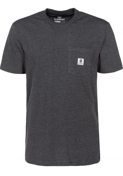 Element T-Shirts Basic Pocket Label charcoalheather Vorderansicht