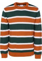 Cleptomanicx Strickpullover Port Stripe bottlegreen Vorderansicht 0144030