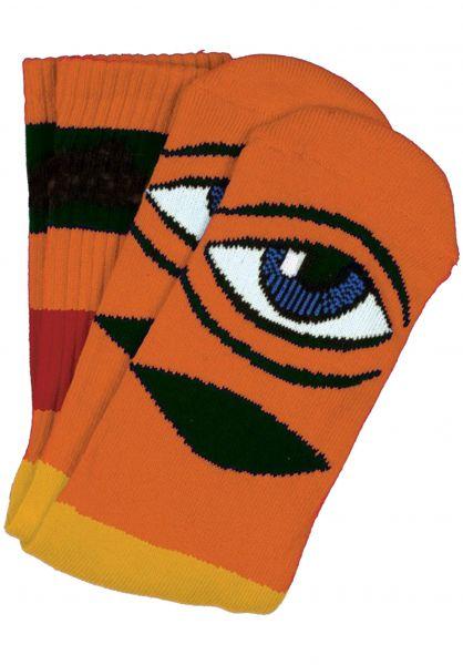 Toy-Machine Socken Sect Eye Big Stripe orange vorderansicht 0631404