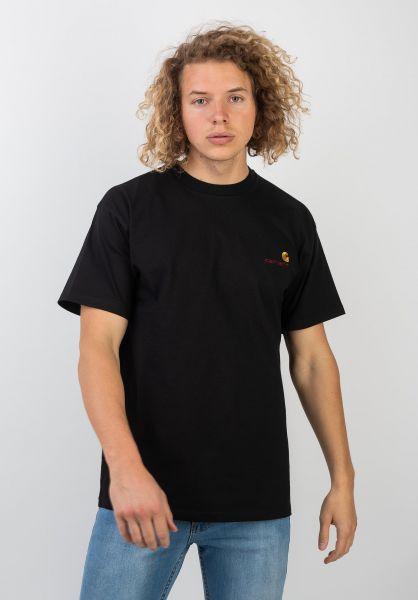 Carhartt WIP T-Shirts American Script black vorderansicht 0399768