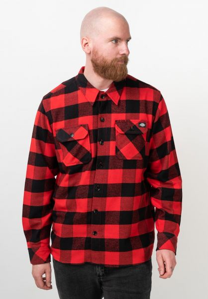 Dickies Hemden langarm Sacramento red vorderansicht 0411126