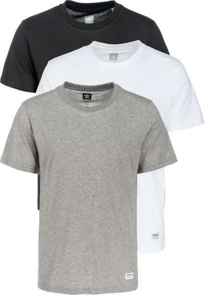 adidas-skateboarding T-Shirts 3 Pack Climalite coreheather-white-black vorderansicht 0396853