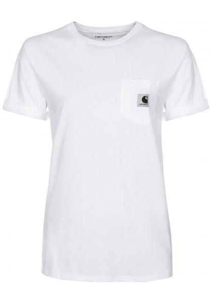 Carhartt WIP T-Shirts W' S/S Carrie Pocket white-ashheather Vorderansicht