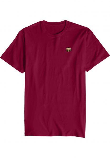 Habitat T-Shirts Burger Embroidered burgundy Vorderansicht