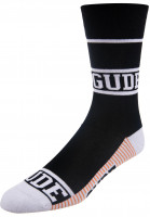 GUDE-Socken-Classic-black-white-orange-Vorderansicht