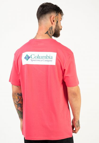 Columbia T-Shirts North Cascades Backprint brightgeranium-whiterectangle-emeraldgreen-lapsisbluelogo vorderansicht 0320625