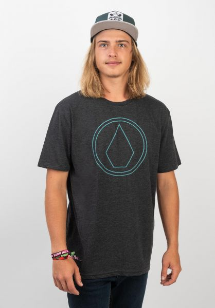 Volcom T-Shirts Pin Stone heatherblack-blue vorderansicht 0399848