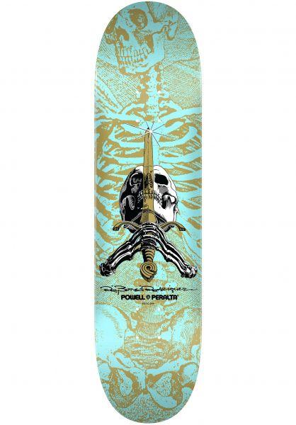 Powell-Peralta Skateboard Decks Ray Rodriguez Skull & Sword Popsicle turquoise vorderansicht 0116471