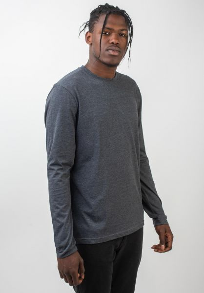 Element Longsleeves Basic Crew charcoalheather vorderansicht 0381967