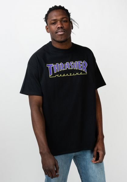 Thrasher T-Shirts Outlined black-purple vorderansicht 0395305