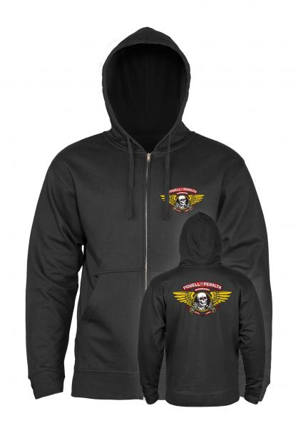 Powell-Peralta Zip-Hoodies Winged Ripper black vorderansicht 0442230