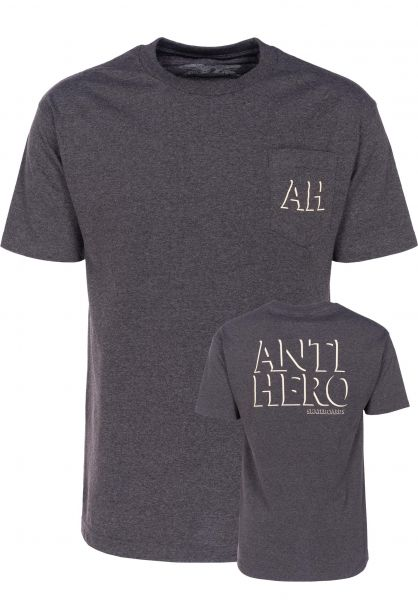 Anti-Hero T-Shirts Drophero charcoalheather-cream Vorderansicht