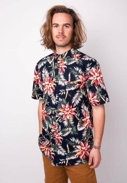 TITUS Hemden kurzarm Palm Leaf AO navy-pattern vorderansicht 0400828