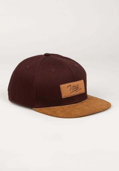 TITUS Caps Steve Leather Snapback Kids burgundy-camel vorderansicht 0565783