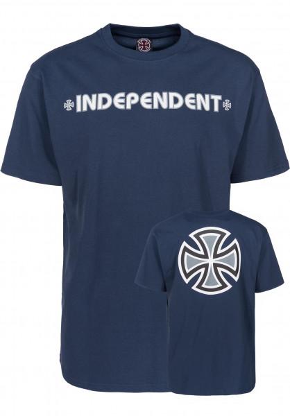 Independent T-Shirts Bar Cross navy Vorderansicht