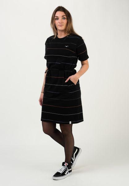 Cleptomanicx Kleider Feel Stripe black vorderansicht 0801424