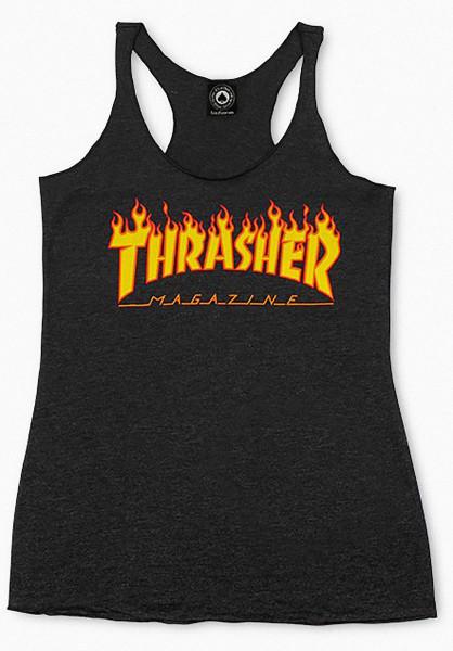 Thrasher Tops Flame Logo Racerback black Vorderansicht
