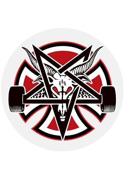 """Independent Verschiedenes Thrasher Pentagram Cross Sticker 5 """" 25er red-black-white Vorderansicht"""