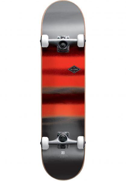 Globe Skateboard komplett Full On Charcoal Chromantic charcoal-red Vorderansicht