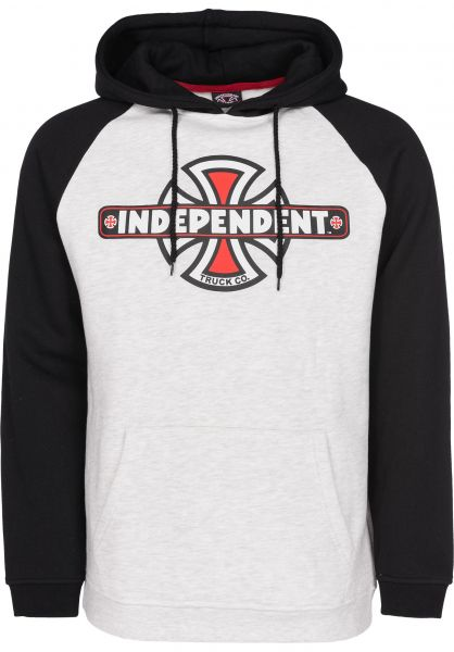 Independent Hoodies Vintage Cross Raglan black-athleticheather Vorderansicht