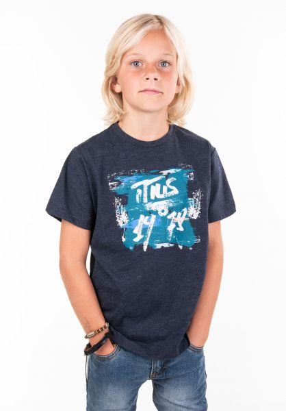 TITUS T-Shirts Paint Kids deepnavymottled vorderansicht 0397389