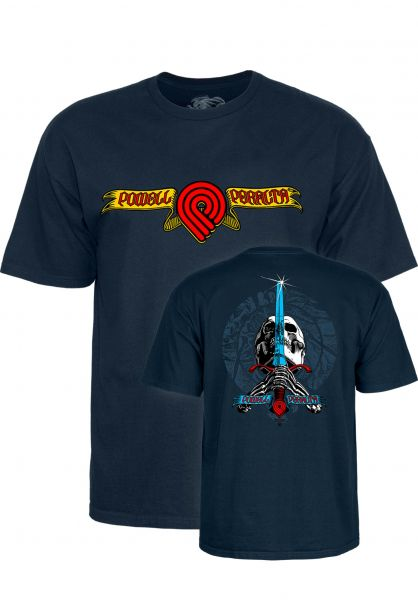 Powell-Peralta T-Shirts Triple P Skull and Sword navy vorderansicht 0320228